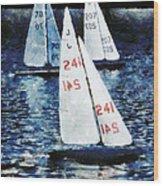 Big Sailors And Little Boats Wood Print