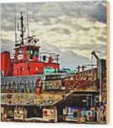 Big Ship Rising Wood Print