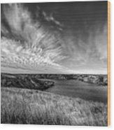 Big Sky Country In Black And White Wood Print