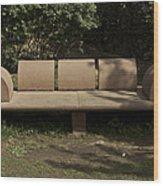 Big Stone Bench Inside The Garden Of 5 Senses Wood Print