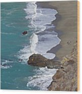 Big Sur Surf Wood Print by Art Block Collections