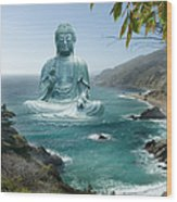 Big Sur Tea Garden Buddha Wood Print by Alixandra Mullins