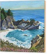 Big Sur Waterfall Wood Print