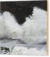 Big Waves Breaking On Breakwater Wood Print