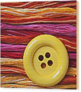 Big Yellow Button  Wood Print