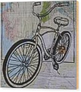 Bike 6 On Map Wood Print by William Cauthern