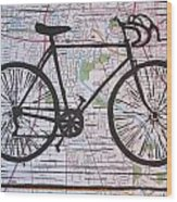 Bike 8 On Map Wood Print by William Cauthern