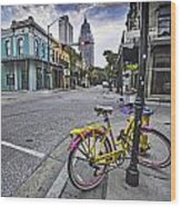 Bike And 3 Georges In Mobile Alabama Wood Print
