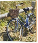 Bike At Nantucket Beach Wood Print