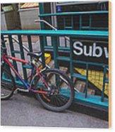 Bike At Subway Entrance Wood Print