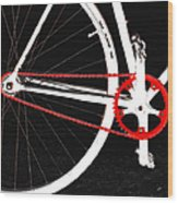 Bike In Black White And Red No 2 Wood Print