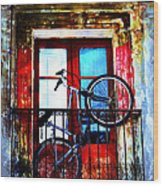 Bike In The Balcony Wood Print