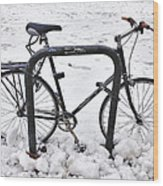 Bike In The Snow Wood Print