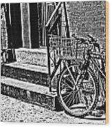 Bike In The Sun Black And White Wood Print