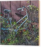 Bike In The Vines Wood Print