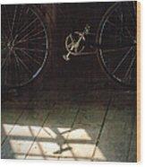 Bike Light And Shadow In Barn Wood Print