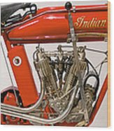 Bike - Motorcycle - Indian Motorcycle Engine Wood Print
