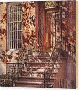 Bike - Ny - Greenwich Village - An Orange Bike  Wood Print