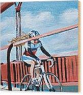 Bike On The Golden Gate Bridge Wood Print