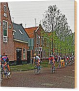 Bike Race On Orange Day In Enkhuizen-netherlands Wood Print