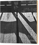 Bike Trail Bridge Bw Wood Print