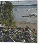 Bikes And Boats Wood Print