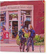 Bikes Backpacks And Cold Beer At The Local Corner Depanneur Montreal Summer City Scene  Wood Print
