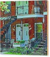 Bikes Balconies Brick Houses Flower Boxes Verdun Duplex Stairs Summer Scenes Carole Spandau Wood Print