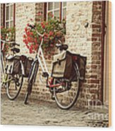 Bikes In The School Yard Wood Print