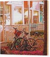 Bikes In The Yard Wood Print