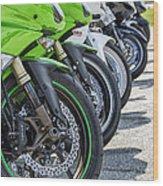 Bikes Lined Wood Print