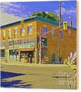 Biking By The Bakery On Bank The Glebe Nicastro Foods And David's Tea Ottawa Streetscene Cspandau    Wood Print