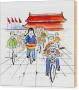 Biking In China Wood Print
