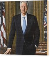 Bill Clinton Portrait Wood Print by Tilen Hrovatic