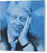 Bill Clinton Wood Print by Victor Minca