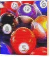 Billiard Balls On The Table Wood Print