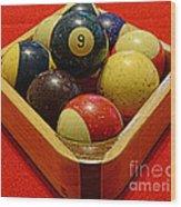 Billiards - 9 Ball - Pool Table - Nine Ball Wood Print
