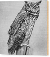 Bill's Great Horned Owl Wood Print