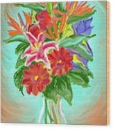 Billys Flowers Wood Print