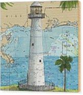 Biloxi Lighthouse Ms Nautical Chart Art Cathy Peek Wood Print