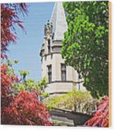 Biltmore And Japanese Maple Trees Wood Print