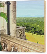 Biltmore Balcony Asheville Nc Wood Print by William Dey