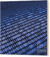 Binary Code On Pixellated Screen Wood Print