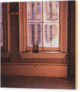 Binoculars On Windowsill Wood Print