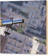 Binoculars View Of City Wood Print