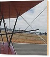 Biplane Taxying Back To Tie Down Wood Print