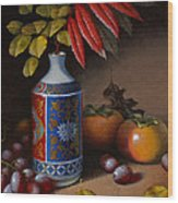 Birch And Sumac With Persimmons Wood Print by Timothy Jones
