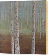 Birch In The Mist Wood Print