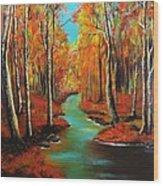 Birch River Wood Print