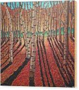Birch Trees At Dusk Wood Print
